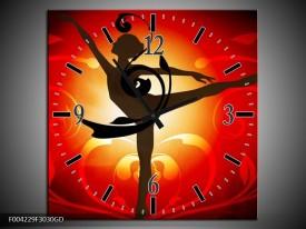 Wandklok op Glas Dansen | Kleur: Oranje, Rood, Geel | F004229CGD