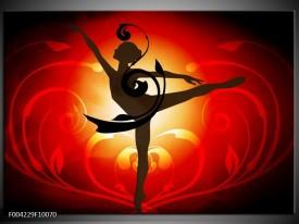 Glas schilderij Dansen | Oranje, Rood, Geel