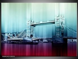 Glas schilderij London | Paars, Blauw, Grijs