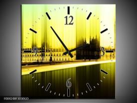 Wandklok op Glas Londen | Kleur: Geel, Groen, Zwart | F004248CGD