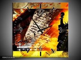 Wandklok op Canvas New York | Kleur: Geel, Rood, Zwart | F004251C