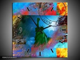 Wandklok op Glas New York | Kleur: Blauw, Rood, Geel | F004252CGD