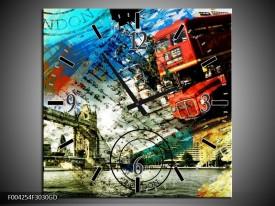 Wandklok op Glas Engeland | Kleur: Rood, Blauw, Geel | F004254CGD