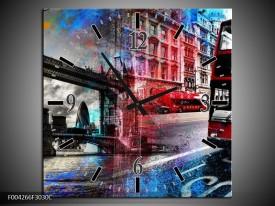 Wandklok op Canvas Modern | Kleur: Rood, Grijs, Blauw | F004266C