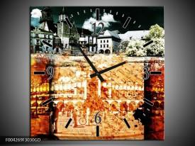 Wandklok op Glas Modern | Kleur: Rood, Geel, Grijs | F004269CGD