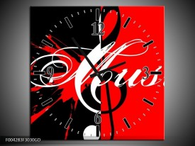Wandklok op Glas Muziek | Kleur: Rood, Zwart, Wit | F004283CGD