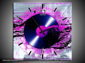 Wandklok op Glas Muziek | Kleur: Paars, Zwart, Grijs | F004284CGD
