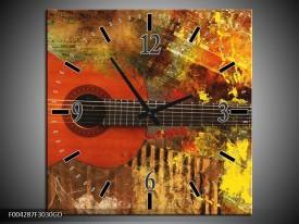 Wandklok op Glas Gitaar | Kleur: Rood, Oranje, Geel | F004287CGD
