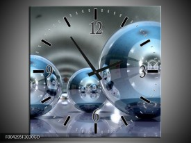 Wandklok op Glas Modern | Kleur: Blauw, Grijs | F004295CGD