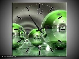Wandklok op Glas Modern   Kleur: Groen, Wit   F004296CGD