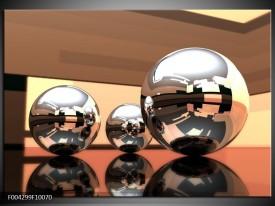 Glas schilderij Modern   Bruin, Geel, Zilver
