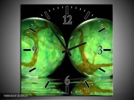 Wandklok op Glas Modern | Kleur: Groen, Zwart | F004303CGD