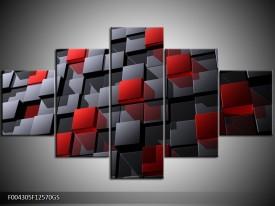 Glas schilderij Modern | Grijs, Rood, Zwart | 125x70cm 5Luik