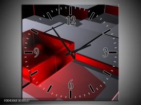 Wandklok op Glas Modern | Kleur: Rood, Grijs | F004306CGD