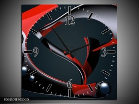 Wandklok op Glas Modern | Kleur: Rood, Grijs, Zwart | F004309CGD