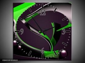 Wandklok op Glas Modern | Kleur: Groen, Grijs, Zwart | F004310CGD