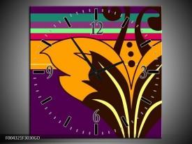 Wandklok op Glas Modern   Kleur: Paars, Geel, Oranje   F004321CGD