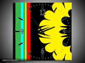 Wandklok op Glas Modern | Kleur: Zwart, Geel, Groen | F004322CGD