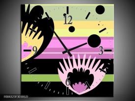 Wandklok op Glas Modern | Kleur: Zwart, Paars, Groen | F004323CGD