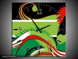 Wandklok op Glas Abstract   Kleur: Groen, Rood, Wit   F004327CGD