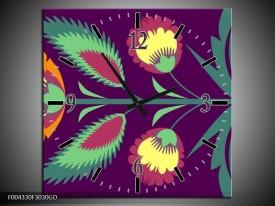 Wandklok op Glas Abstract | Kleur: Paars, Geel, Oranje | F004330CGD