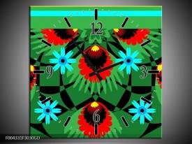Wandklok op Glas Abstract | Kleur: Groen, Rood, Blauw | F004331CGD