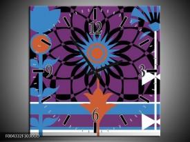 Wandklok op Glas Abstract | Kleur: Paars, Zwart, Wit | F004332CGD