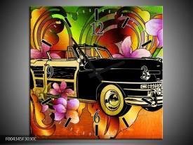 Wandklok op Canvas Oldtimer   Kleur: Paars, Geel, Rood   F004345C