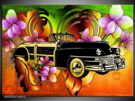 Glas schilderij Oldtimer | Paars, Geel, Rood