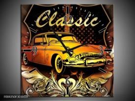 Wandklok op Glas Oldtimer | Kleur: Geel, Bruin, Oranje | F004350CGD