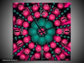 Wandklok op Glas Modern | Kleur: Roze, Groen, Zwart | F004369CGD