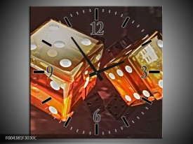 Wandklok op Canvas Modern   Kleur: Oranje, Geel, Zwart   F004381C