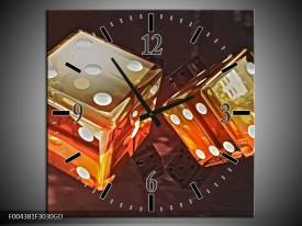 Wandklok op Glas Modern | Kleur: Oranje, Geel, Zwart | F004381CGD