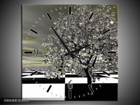 Wandklok op Glas Boom | Kleur: Grijs, Zwart, Wit | F004384CGD