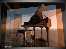Foto canvas schilderij Piano | Bruin, Grijs