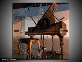 Wandklok op Glas Piano | Kleur: Bruin, Grijs | F004387CGD
