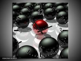 Wandklok op Glas Design | Kleur: Rood, Zwart, Grijs | F004396CGD
