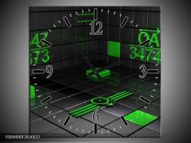Wandklok op Glas Design | Kleur: Groen, Grijs | F004400CGD