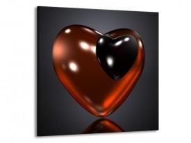 Glas schilderij Hart | Rood, Zwart, Grijs | 70x70cm 1Luik