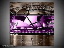Wandklok op Glas Sydney | Kleur: Paars, Grijs, Zwart | F004431CGD