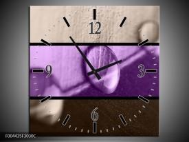 Wandklok op Canvas Druppels | Kleur: Paars, Bruin | F004435C