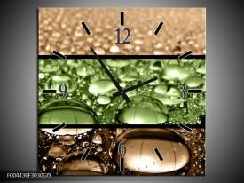 Wandklok op Glas Druppels | Kleur: Groen, Bruin | F004436CGD