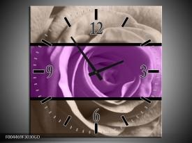 Wandklok op Glas Roos   Kleur: Paars, Grijs, Zwart   F004469CGD