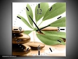Wandklok op Glas Spa | Kleur: Groen, Bruin, Wit | F004495CGD