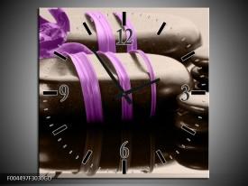 Wandklok op Glas Spa   Kleur: Paars, Zwart   F004497CGD