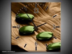 Wandklok op Glas Spa | Kleur: Bruin, Groen | F004513CGD