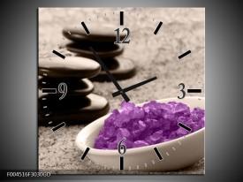 Wandklok op Glas Spa | Kleur: Paars, Grijs, Zwart | F004516CGD