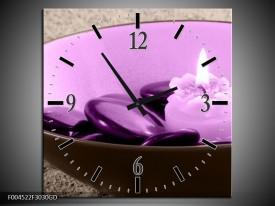 Wandklok op Glas Spa   Kleur: Paars, Grijs   F004522CGD