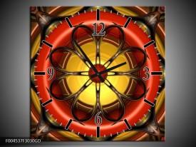 Wandklok op Glas Modern | Kleur: Rood, Geel, Zwart | F004537CGD