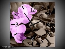 Wandklok op Glas Orchidee   Kleur: Paars, Grijs   F004544CGD